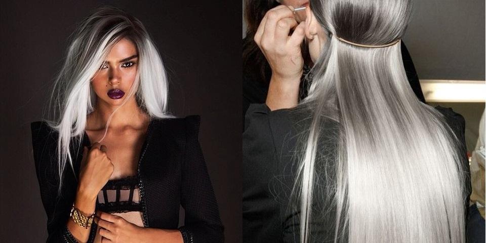 Модная покраска для седых волос 26